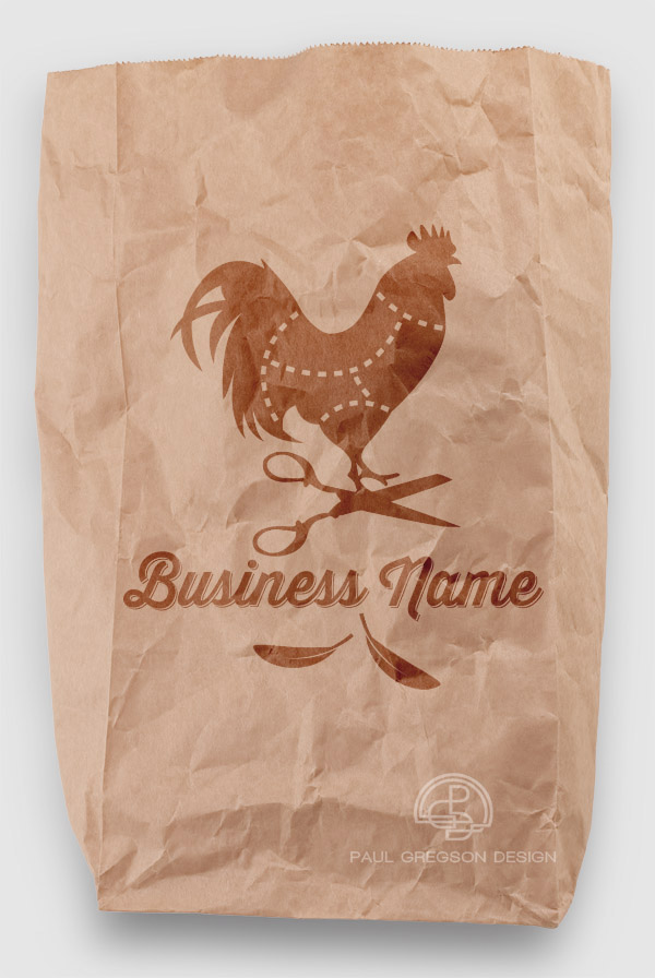 chicken logo on a paper bag