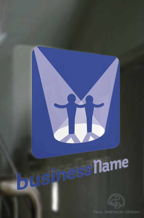 actors logo on glass door