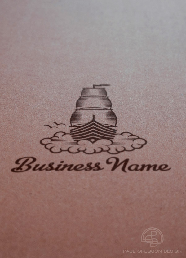 dream boat woodcut logo seen in perspective on card