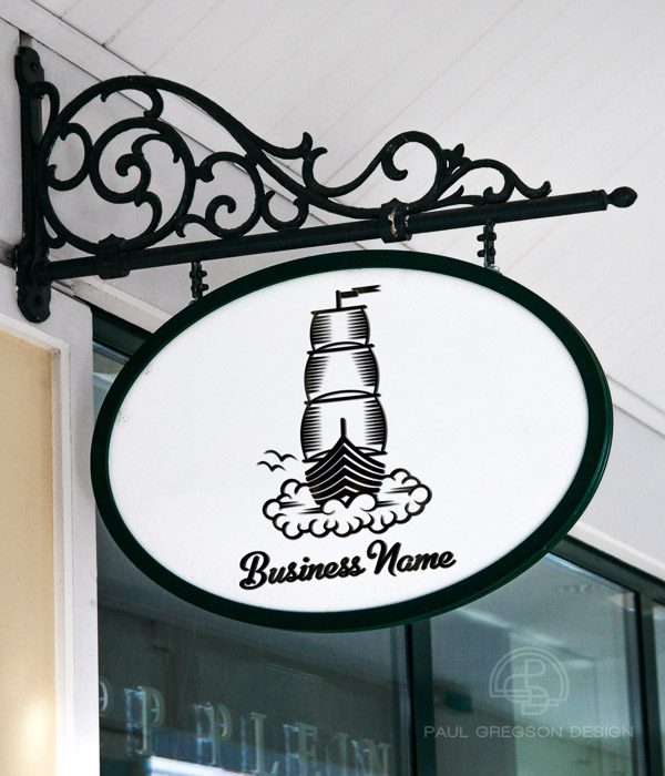 dream boat woodcut icon on hanging shop sign
