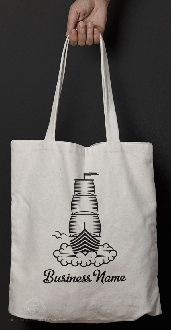 dream boat woodcut on canvas bag