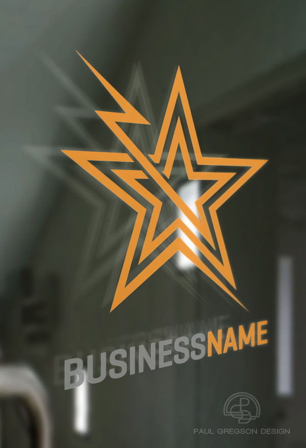 electric star symbol on glass door