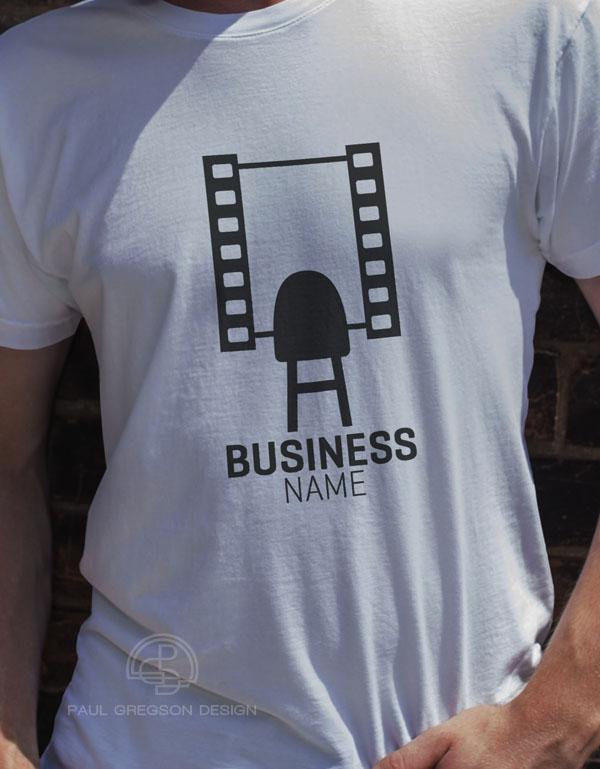 film strip mirror logo on mans tee shirt