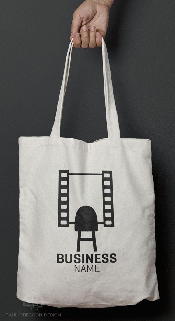 film strip mirror logo on canvas bag