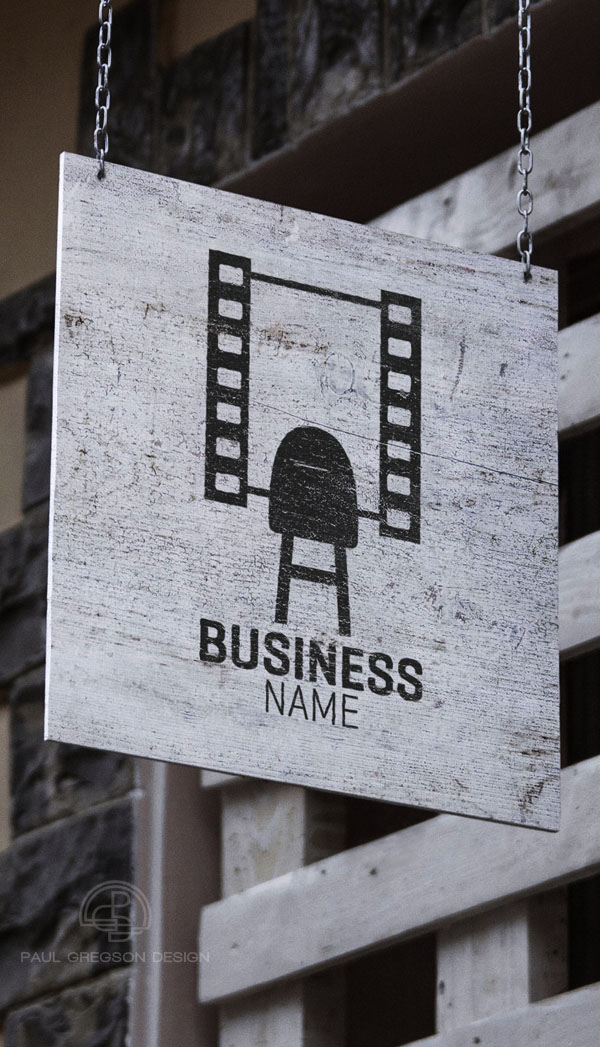 film strip mirror symbol on hanging sign