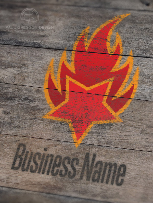 fire logo distressed wood