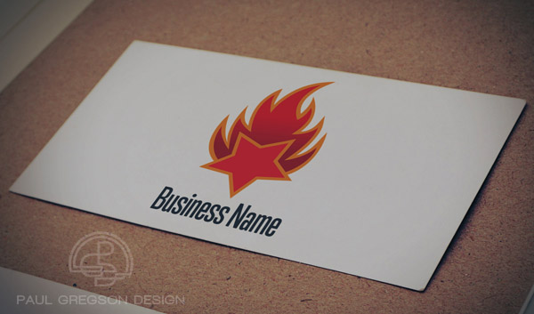 fire logo on card