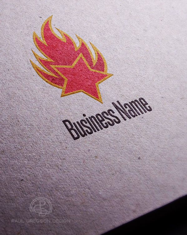 fire logo embossed