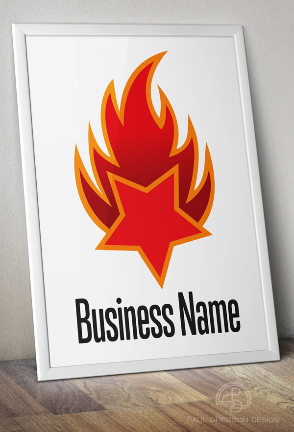 fire logo on poster