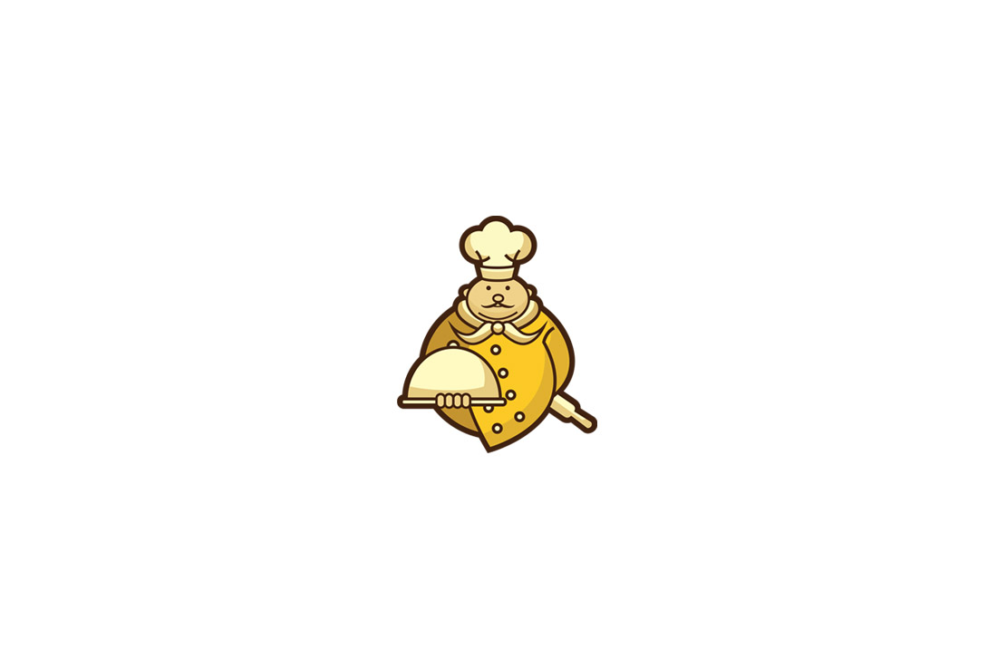 gold chef character logo featured