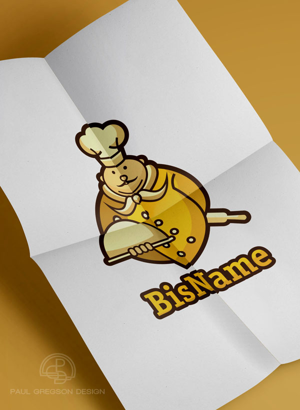 gold chef icon on folded paper