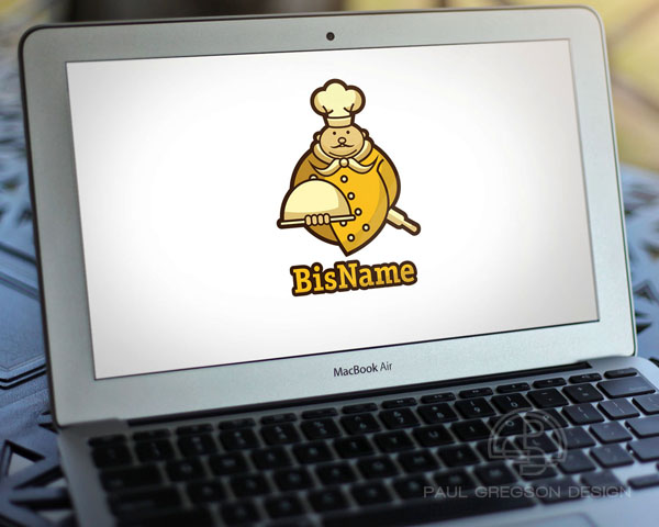 gold chef logo on computer screen
