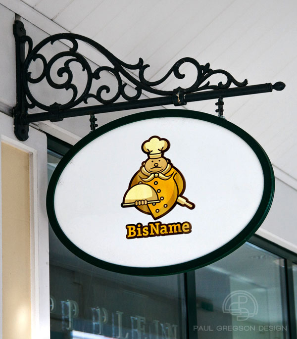 gold chef character logo on a hanging shop sign