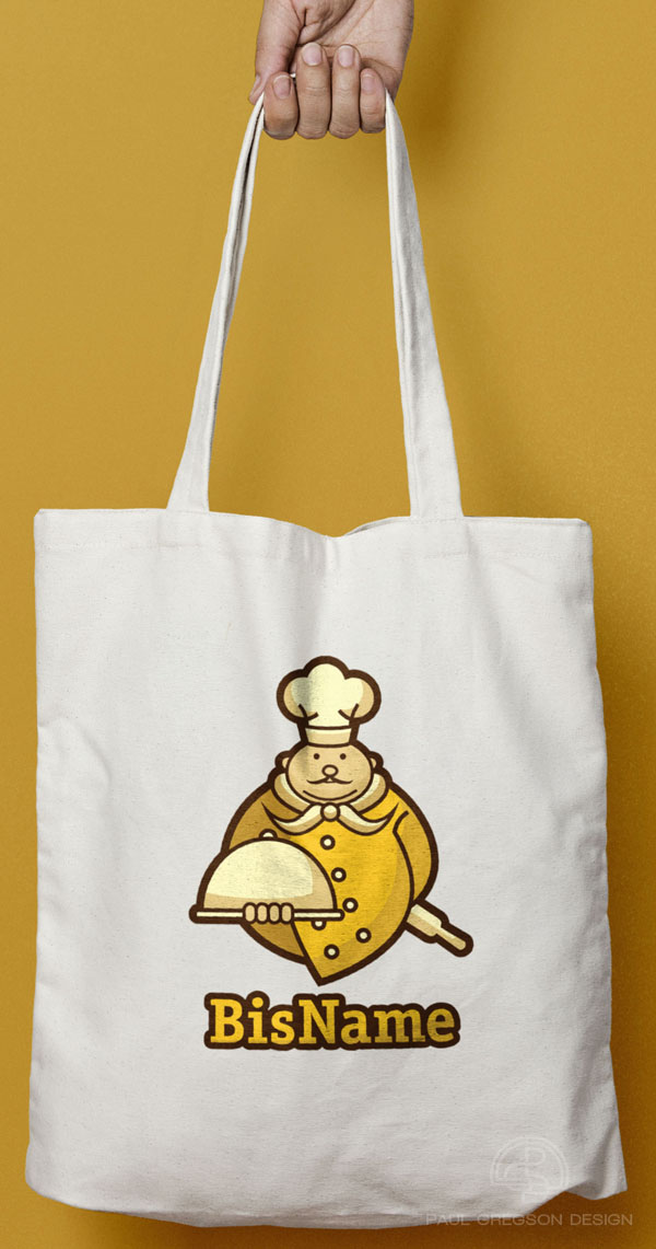 gold chef icon on canvas bag