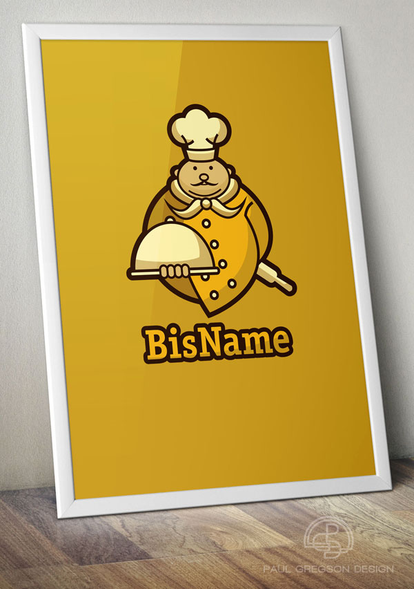 gold chef symbol on framed poster