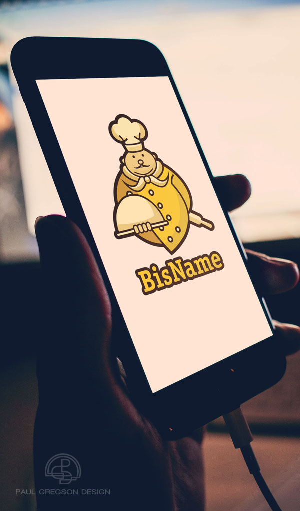 gold chef symbol on mobile cell phone