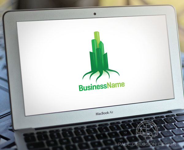 green city icon on computer screen