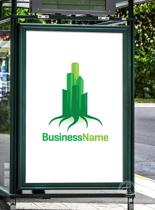 green city logo on bus stop