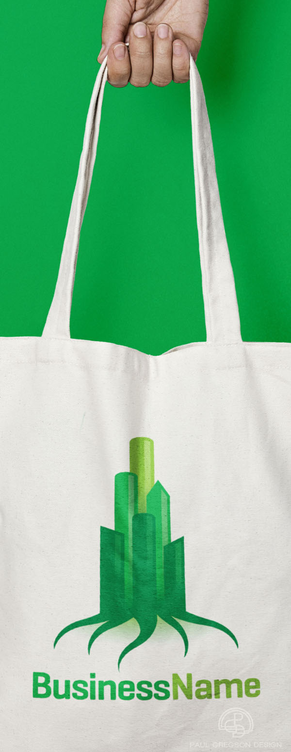 green city symbol on tote bag