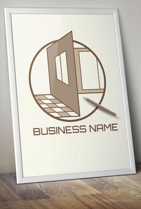 home design emblem on poster
