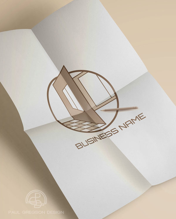 home design logo on folded paper