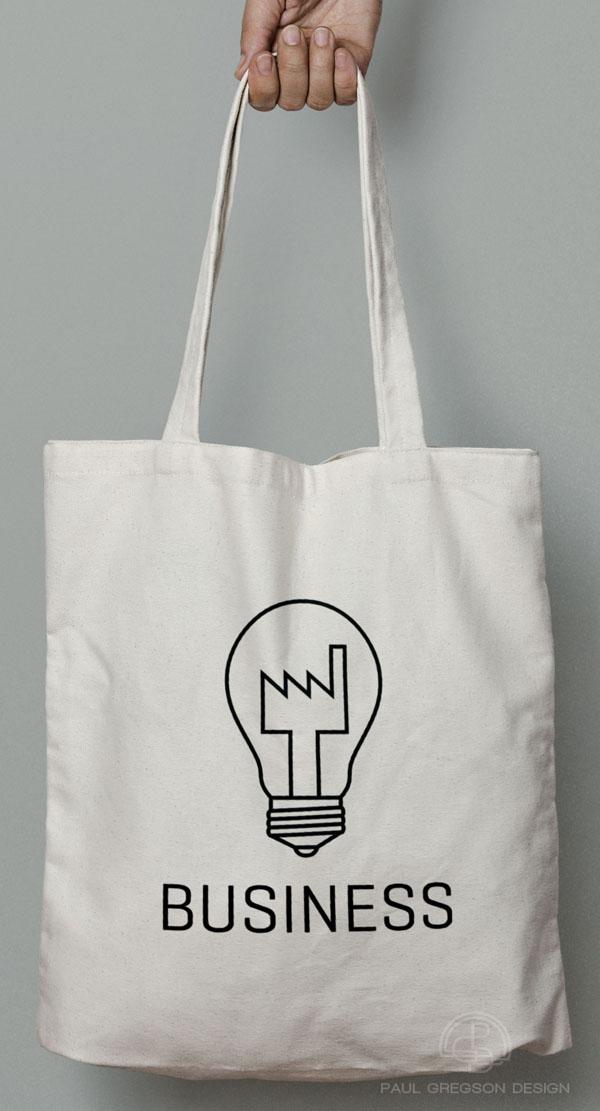 factory bulb logo on canvas bag