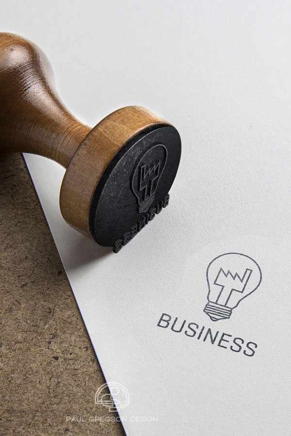 factory bulb icon rubber stamp