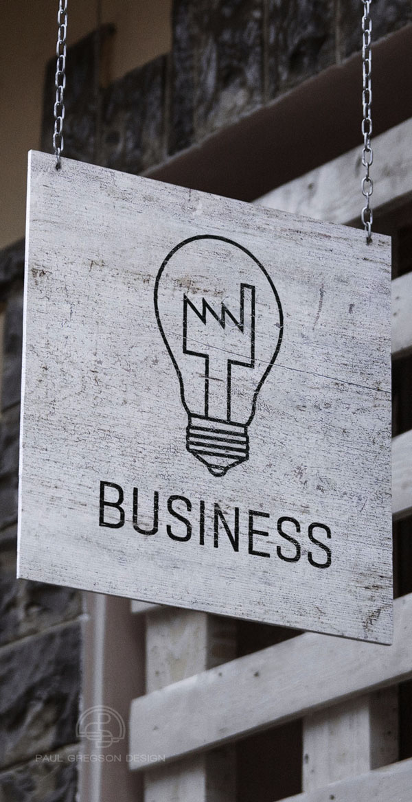 factory bulb icon on hanging sign