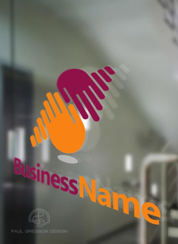 logo viewed on glass door