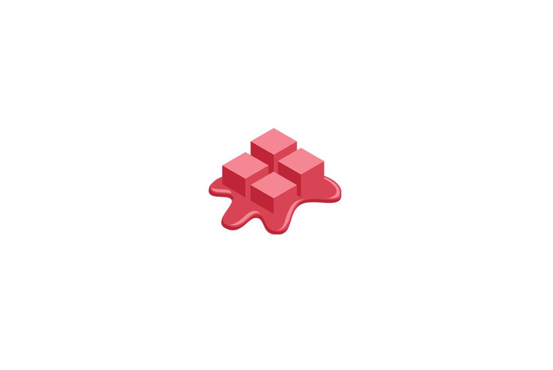 melting pixels symbol logo
