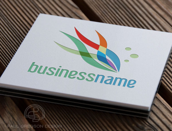 rainbow fish logo on card stock