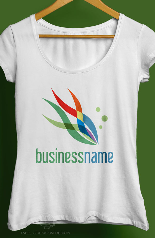 rainbow fish logo on a ladies tee shirt