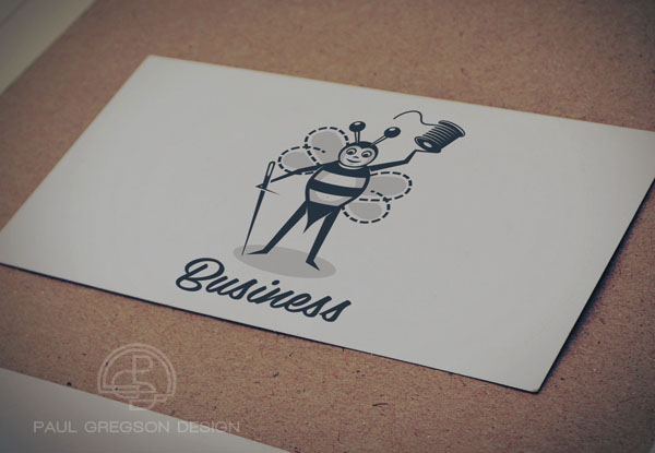 sewing bee character icon on card stock