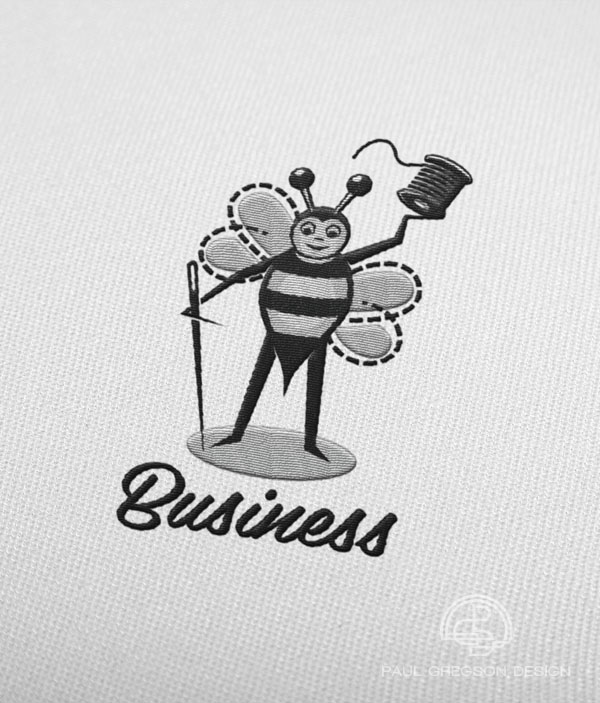 sewing bee character logo embroidered motif badge