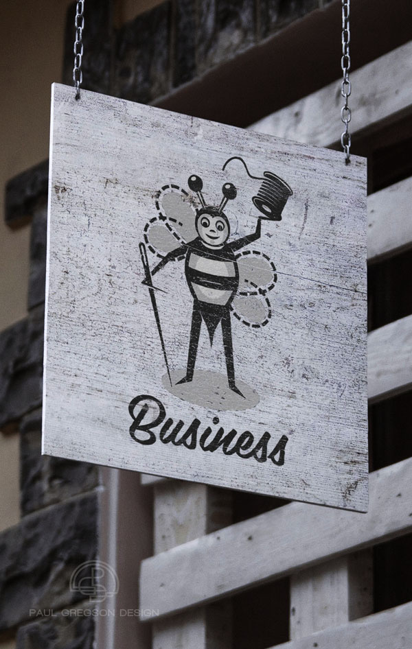 sewing bee character icon on a hanging sign