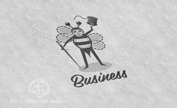 sewing bee character logo on pressed cotton