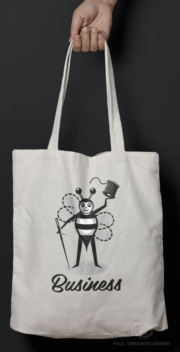 sewing bee character symbol on a canvas bag