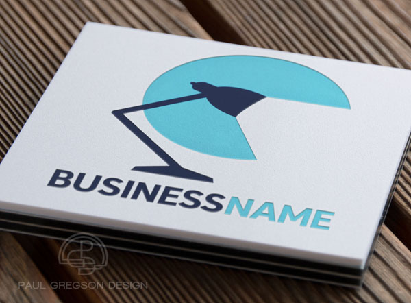 desk lamp logo on pressed card