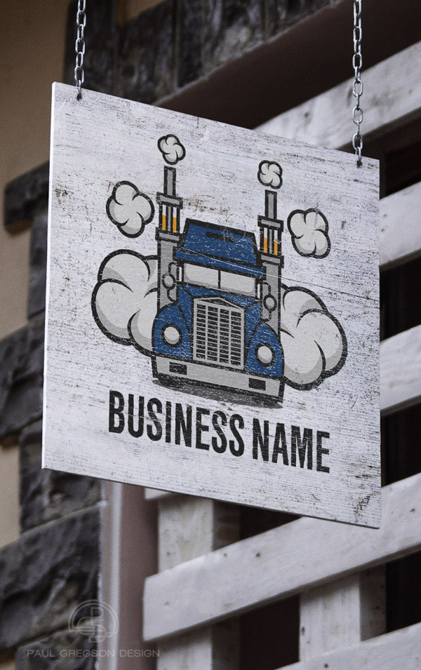 truck vaping logo on hanging sign