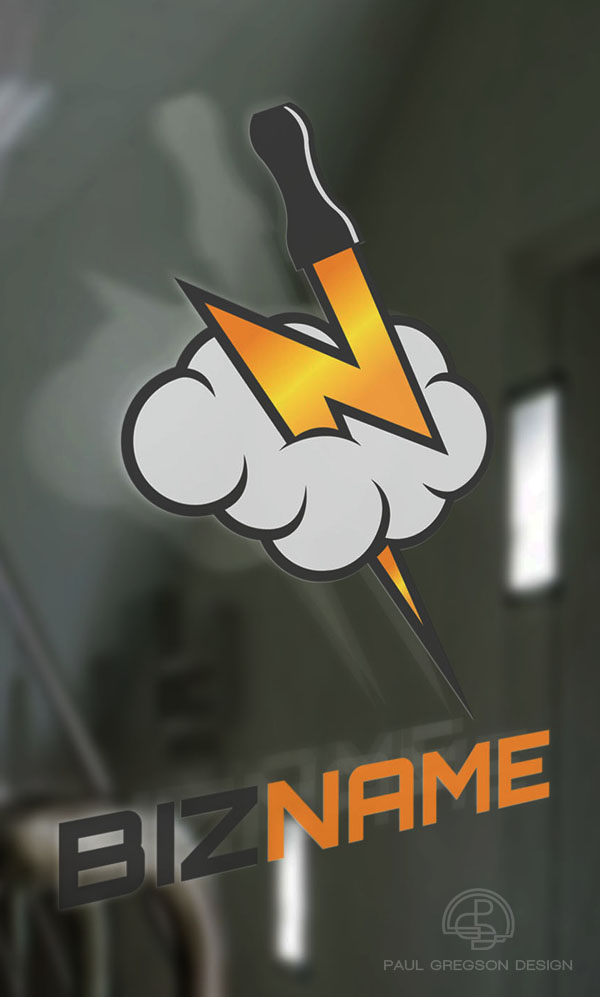 vaping logo on glass door