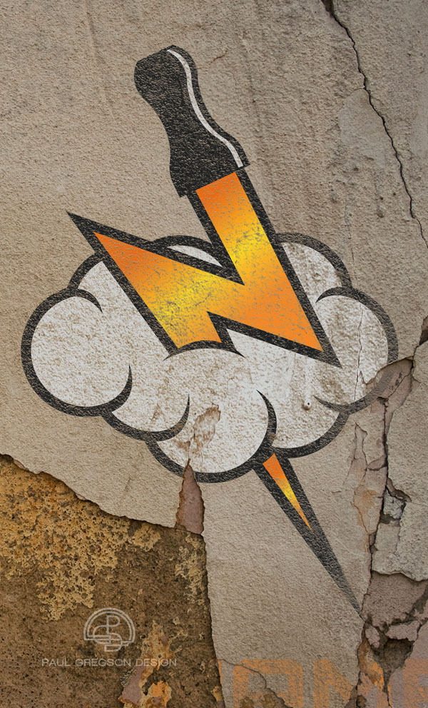 vaping symbol on a crumbling wall