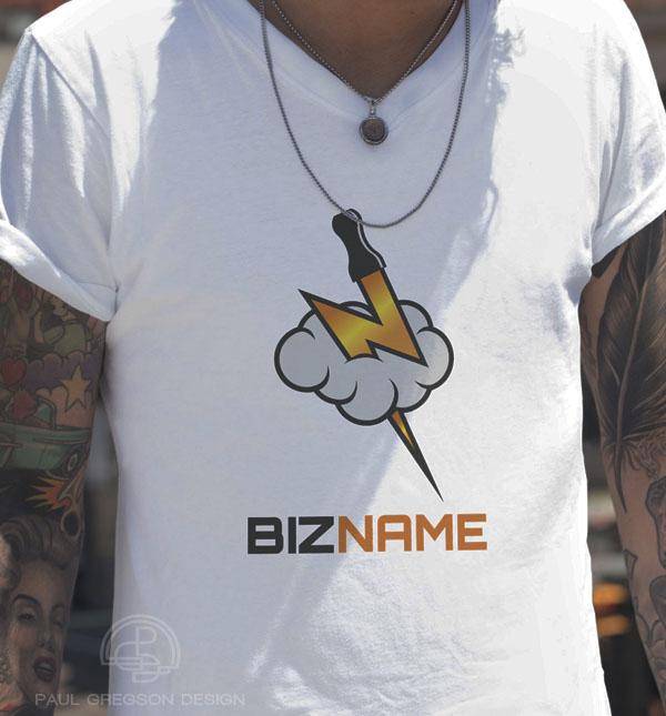 vaping logo on mans tee shirt
